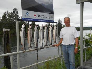 Mel of Port Alberni B.C. shows of his Sockeye catch that he and one guest landed. The sockeye are forecast at an assessed number of 700,000 to one million in terms of returns to the Somass River.  Currently the Sockeye retention is four per day with a two day possession limit of eight